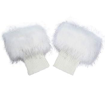 La Carrie Women Faux Fur PlushLeg Warmers Short Furry Fuzzy Leg Cuffs Girls Winter Knitted Boot White