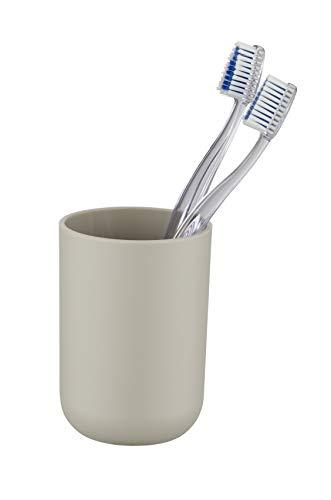 Wenko Zahnputzbecher Brasil, Zahnbürstenhalter für das Badezimmer, Becher aus bruchsicherem Kunststoff, Ø 7,3 x 10,3 cm, Taupe
