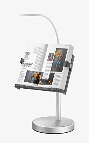 OOWOLF ブックスタンド 書見台 猫型 本立て 読書スタンド データホルダー 置型 卓上ブックホルダー 肩こり解消 角度 高さ調節 照明付き LED無段階調整 ブック &iPad&スマホス適用 ブックホルダー面サイズ21*30*41.5cm 紙が傷つか
