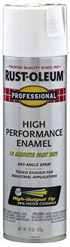 Rust-Oleum 7590838 Professional High Performance Enamel Spray Paint, 15 oz, Flat White
