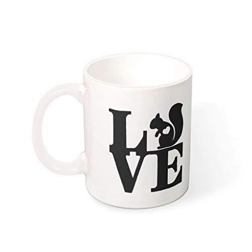 STELULI Taza de café ardilla de cerámica de primera clase personalizada moderna – Tazas para mascotas para regalo de cumpleaños blanco 330 ml