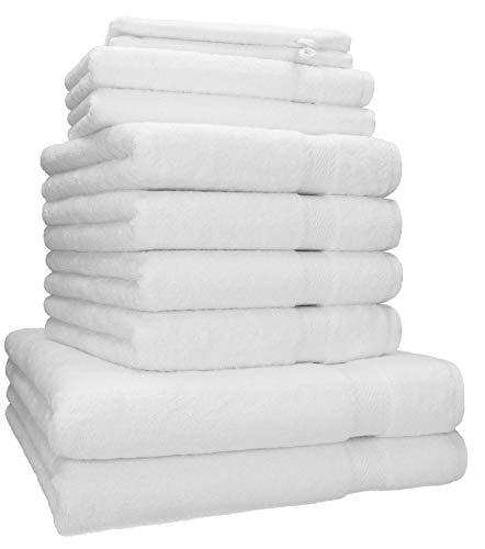 Betz 10-TLG. Handtuch-Set Premium 95°C waschbar 100% Baumwolle 2 Duschtücher 4 Handtücher 2 Gästetücher 2 Waschhandschuhe Farbe weiß
