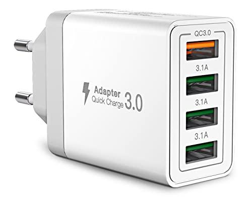 Caricatore USB da Muro,Aioneus Multiplo USB 33W Quick Charge 3.0 Alimentatore Presa USB da Parete Carica Rapida 4 Porte USB Caricabatterie per iPhone 13 12 11 XR SE 8 7,iPad,Samsung S21 S10 S9 S8 A51