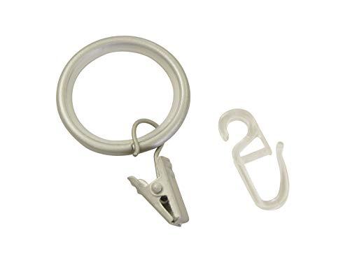 Gardinia Gardinenringe mit Gleiteinlage, Faltenlegehaken und Klammern, Metall, für Ø 19 mm Silber-Satin, 10er Pack, 10