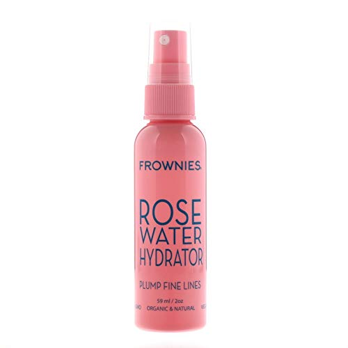 Frownies Rosewater Hydrator Spray, Contains Organic Rose Hydrosol, Organic Aloe Vera, Hyaluronic Acid