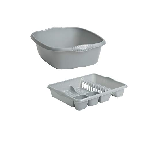 Wham Rectangular Washing Up Bowl and Large Dish Drainer Plastic Set of 2 (Silver/Grey)