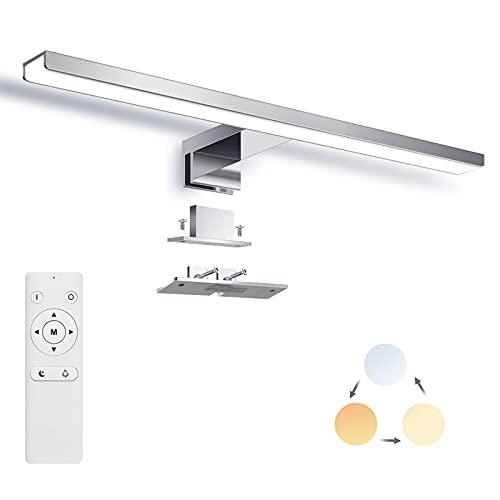 Lámparas para Espejo,SOLMORE Luce para Baño 40cm Brillo y Temperatura ajustables (3000K / 4500K / 6000K) con control remoto