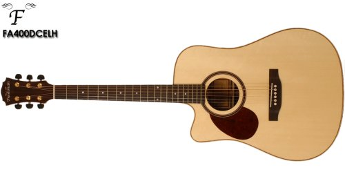 Freshman FA400DCEL Richwood Elektroakustische Gitarre mit massiver, für Linkshänder