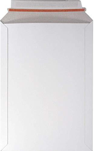 Sgualie 100 sobre de cartón Blanco 176x250 mm 450g Adhesivo de Bolsa de cartón sólido con Tiras de cáscara Cartón de envío Cartón sólido, SRA3 (320x455 mm)