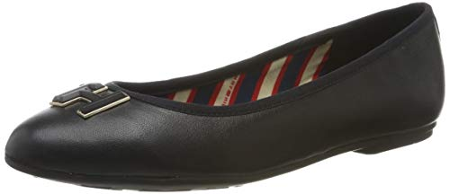 Tommy Hilfiger Damen Essential Leather Ballerina Pumps, Schwarz (Black 990), 39 EU