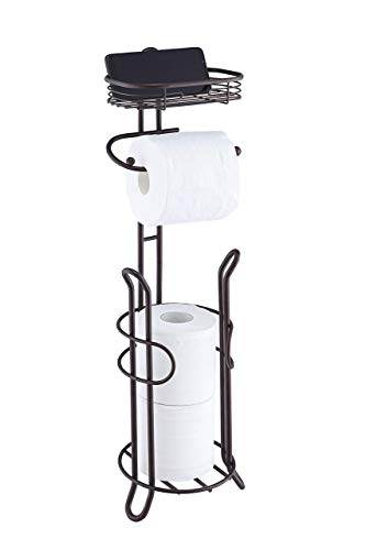 SunnyPoint Bathroom Heavyweight Toilet Tissue Paper Roll Storage Holder Stand with Reserve and Shelve, The Reserve Area Has Enough Space to Store Mega Rolls. (ORB)