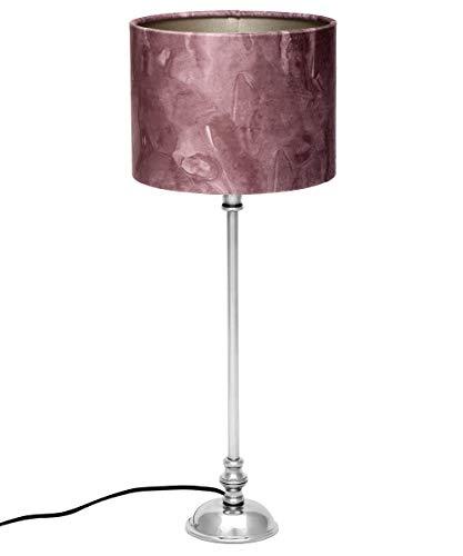Brillibrum Design Tischleuchte mit Altrosa Stoffschirm Wohnzimmer-Lampe Zylinder Lampenschirm Marble für Tischlampe Rund E27 40 Watt runder Lampenfuß (Rosé, runder Fuß)