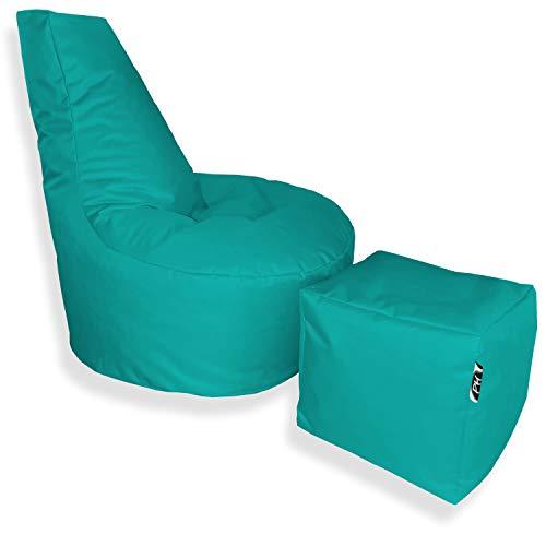 Patchhome Puf con forma de cubo y taburete, diámetro de 80 cm, altura de 90 cm, altura del asiento de 30 cm, cubo de 35 x 35 cm, relleno de poliestireno, color turquesa