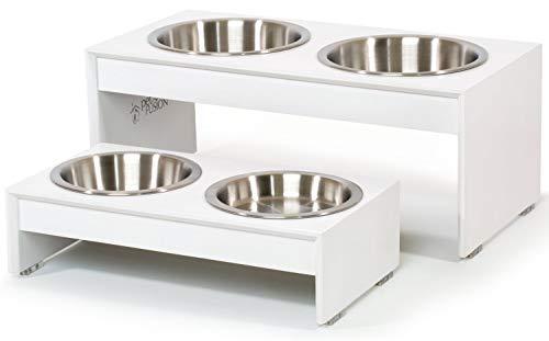 PetFusion Erhöhter Futternapf für Hunde und Katzen, 10,2 cm, 20,3 cm hoch Bambus mit wasserfester Dichtung. Erhöhte Schüsseln aus Edelstahl in Lebensmittelqualität, Short, weiß