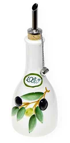 Lashuma Handgemachte Ölflasche mit Ausgießer 300 ml im Olivendesign aus Italienischer Keramik, Größe 16 cm