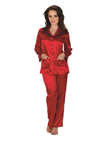 FOREX Lingerie eleganter Satin-Pyjama Schlafanzug Hausanzug im klassischen Still (S, Rot)