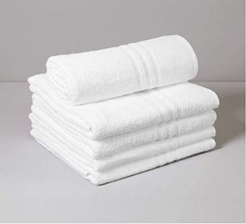 OGDREAMS Juego de 10 toallas de baño, 50 x 100 cm, 450 g/m², 100% algodón, color blanco óptico