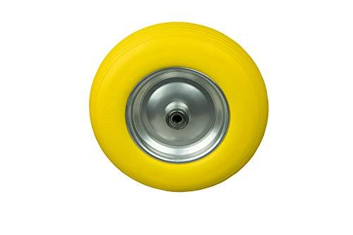HRB PU Schubkarrenrad 400 mm, 180Kg Tragkraft pro Reifen (1 Stück, Gelb) Vollgummi Premium Ersatzrad mit Kugellager und Stahlfelge, Rad für Schubkarre unplattbar