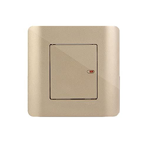 Yoaodpei Interruptor de lámpara de pared Interruptor de luz Interruptor de punto de luz tipo 86 Dorado Enchufe de pared oculto Interruptor de panel Interruptor eléctrico Controlador de energía interio