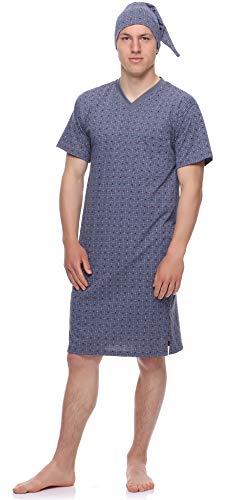 Timone Herren Nachthemd mit Schlafmütze TIDR5002 (Graphit Kariert, XXXL)