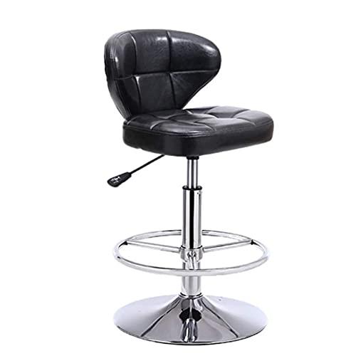 QLIGAH Taburete de Silla de Barra de Cuero PU, Taburete de barbero, Respaldo, Ajuste de Altura, Pedal Confortable, Salón de Belleza, Pedicura