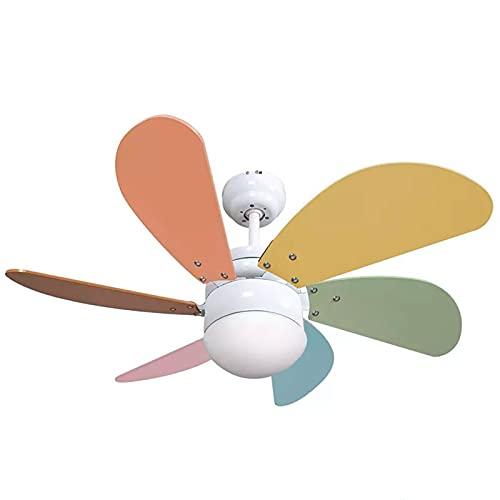 Ventilador de techo con luz y mando a distancia Serie Delfín colores pastel