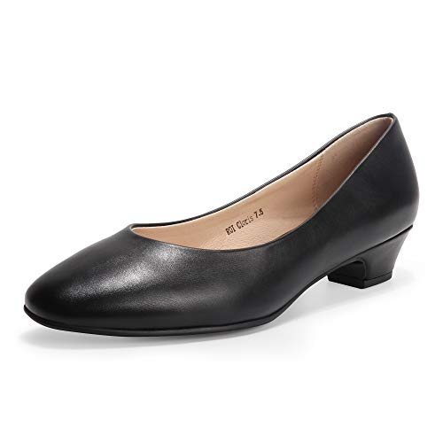 IDIFU Women's ROI Cloris Dress Square Toe Low Chunky Heel Office Work Pump Shoes (Black Pu, 8.5)