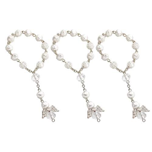 STOBOK - 12 pulseras de perlas para bautizo, rosario, minirosarios con ángel para la primera comunión, bomboneras (blanco dorado)