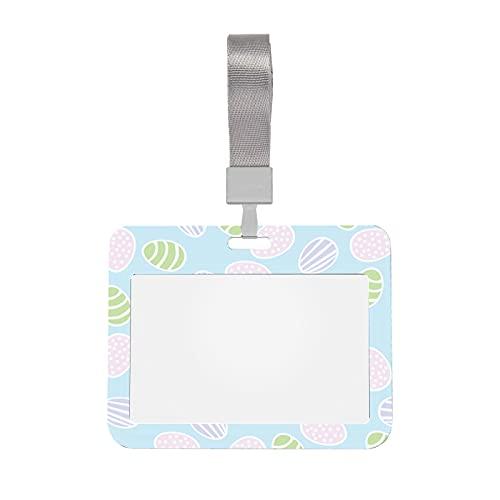 Porta badge identificativo Buona Pasqua Uova colorate Design Porta badge con cordino Porta badge trasparente in stile orizzontale per uffici, scuole, luoghi di lavoro