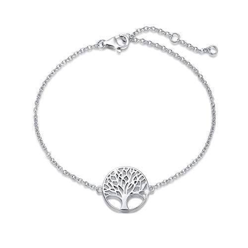 Baum des Lebens Armband aus Solide 925 Sterling Silber 15mm Durchmesser Charm Bracelet Einfach Minimalistisch Geschenk Schmuck für Damen Mädchen - Verstellbar Armkette: 16 + 3 cm