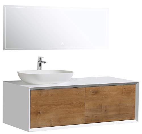 Badmöbel Fiona 1200 Weiß matt - Front in Eiche-Optik - Ohne Spiegel, ohne zusätzl. Blende, Ohne Waschbecken