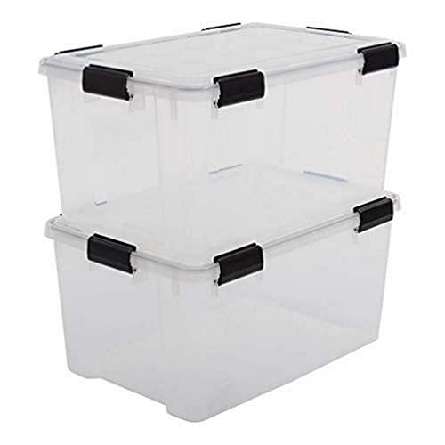 Iris Ohyama, Set di 2 scatole di immagazzinaggio ermetiche, 50 L, con clip, impilabile, garage, cantina, soffitta, Air Tight Box AT-L, Trasparente