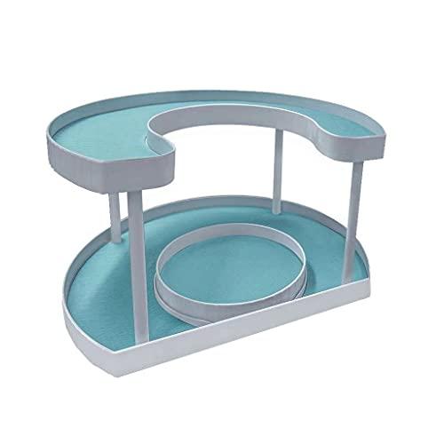 PPuujia Estante de almacenamiento de cocina con bandeja giratoria para especias que ahorra espacio y condimentos, bandeja giratoria, organizador de almacenamiento de cosméticos (color: A)
