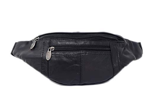 Riñonera De Cuero con 3 Bolsillos | Bolsa de Cadera para Hombre y Mujer Fiestas Ocio o Aire Libre (Negro)