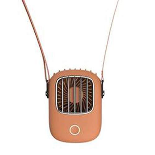 Mini Ventilador de Cuello USB 5V Fresco Recargable para Viajes al Aire Libre Que cuelga portátil silencioso Naranja