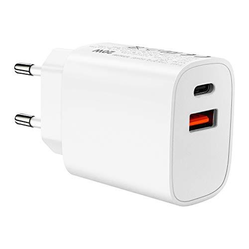 ZealBoom - Cargador USB C, 20 W, cargador rápido, USB C + USB A, cargador de pared PD Quick Charge, compatible con iPhone, iPad, Huawei, Samsung Tablet y teléfono