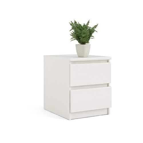 Tvilum Scottsdale 2 Drawer Nightstand, White Woodgrain