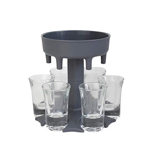Dispensador de 6 vasos de chupito y soporte – Dispensador para llenado de líquidos, dispensador de chupito de barra, dispensador de cócteles (gris)