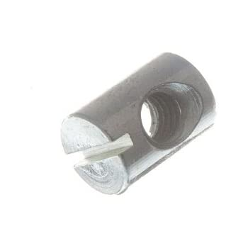 #100147 M6 x Ø10 x 14mm Steel Cross Dowel or Barrel Nut 20 Pcs Centred Hole