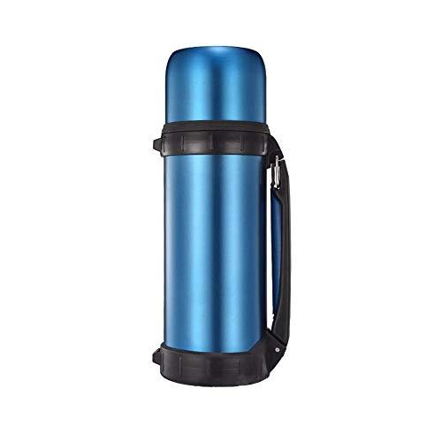 Sdesign 1,2 l de vacío aisladas en el Frasco con una Sola Mano vertiendo el Sistema y 2 Vasos for Beber Tornillo-Off, Botella Camping Deportivo (Color: Plata, Tamaño: 1200 ml) (Color : Blue)
