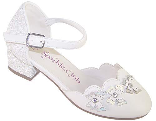 The Sparkle Club Niñas Blanco Ocasión Especial Fiesta Zapatos de Tacón con...