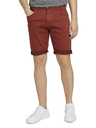 TOM TAILOR Herren 1026077 Josh Slim Denim Bermuda Shorts, 26006-Chili Oil Red, 33