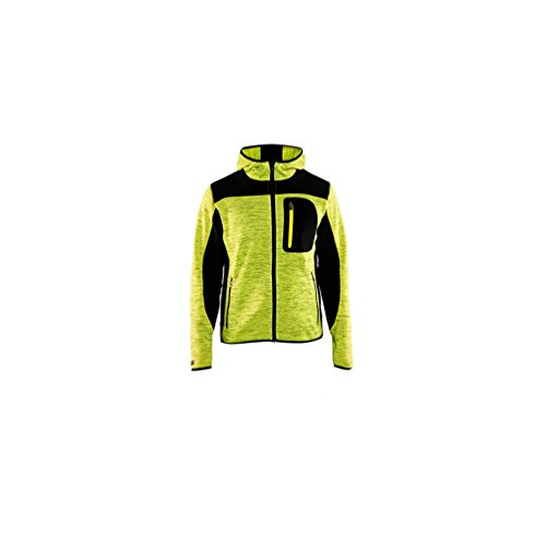 Gebreide jas met softshell-versterkingen, Medium, High Vis geel/zwart