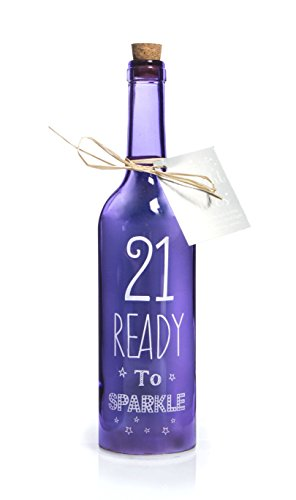 Boxer Gifts SB1221 Light-Up LED '21' Glass Starlight Bottle | Beautiful, Decorative Homeware Perfect...