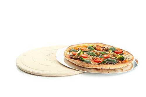 Jamie Oliver BBQ Pizzastein für den perfekt gebackenen Boden - Brotbackstein für Backofen Holz- und Gasgrill - Pizza Stein mit Aluminium Pizzaheber zum Servieren - Rund Ø 33 cm