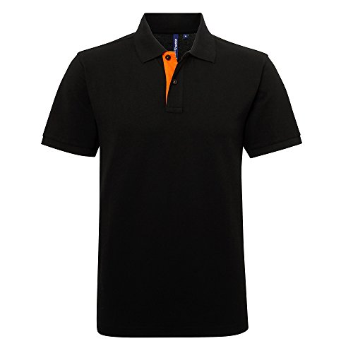 Asquith & Fox Asquith and Fox Men's Classic Fit Contrast Polo, Multicolore (Black/Orange 000), X-Large Homme