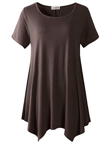 LARACE Womens Swing Tunic Tops Loose Fit Comfy Flattering T Shirt (XL, Coffee)