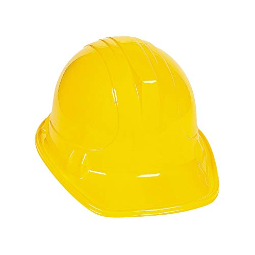 Yellow Construction Hats for Kids - Set of 12 - Party and Costume Accessories