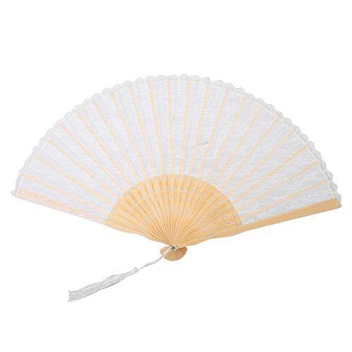 wosume Decoración del hogar, Ventilador de Mano, Duradero doblado para Oficina en casa(White Pole White Fan)