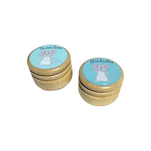 Milchzahndose Milchzähne und Erste Locke Dosen Set, Bilderdosen aus Holz in diversen Motiven für Mädchen und Jungen mit Drehverschluss 44 mm (Maus)